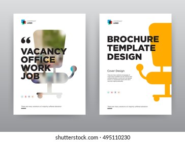 Vacancy Job Company Minimalist Trend Business Corporate roll up annual report brochure flyer design template stock vector, Leaflet abstract flat white background, layout A4 size, EPS, 2016, booklet