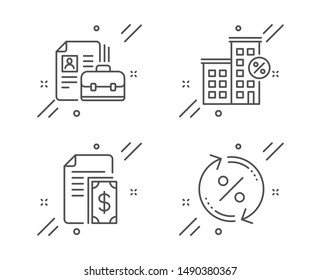 Vacancy, Loan house and Payment line icons set. Loan percent sign. Hiring job, Discount percent, Cash money. Change rate. Finance set. Line vacancy outline icon. Vector