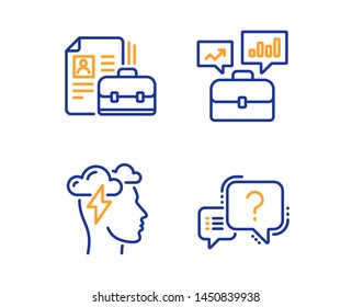 Vacancy, Mindfulness stress and Business portfolio icons simple set. Question mark sign. Hiring job, Cloud storm, Job interview. Quiz chat. Science set. Linear vacancy icon. Colorful design set