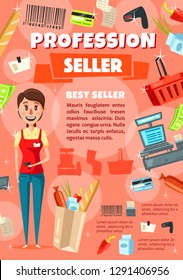 Vacancy of seller in supermarket or shop staff hiring. Saleswoman in uniform with scanner and paper bag of food. Basket and cash counter, credit card and barcode, receipt and money bills vector