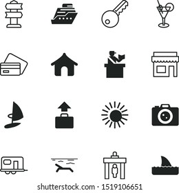 vacancy vector icon set such as: trailer, shark, relaxation, board, cruiser, neighborhood, art, people, border, underwater, direction, safety, door, wildlife, plane, credit, rv, password, windsurfing
