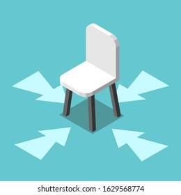 Vacant chair with arrows on turquoise blue background. Job, hiring, vacancy, employment and career concept. Flat design. EPS 8 vector illustration, no transparency, no gradients