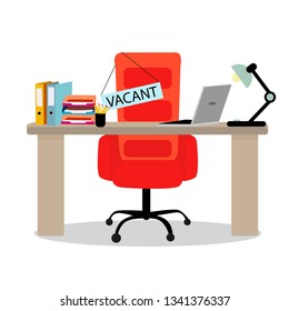 Vacant place chair at ofiice table. Search employee, vacant place for work, empty chair. Vector illustration
