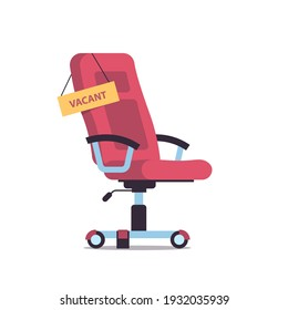 vacant sign on office armchair business hiring recruiting concept vector illustration