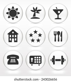 vacation back and white icon set