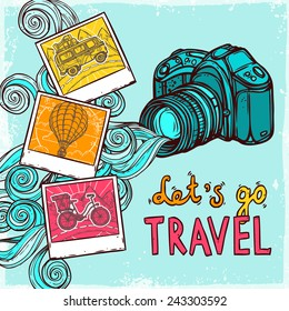 Vacation background with sketch photo camera and travel pictures vector illustration