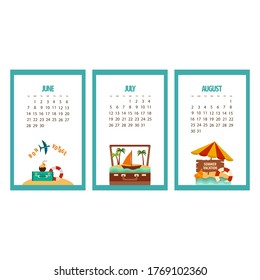 vacation calendar three summer months 2020, june july and august, suitcases and umbrella and life buoy on a white background, vector illustration