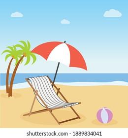 Vacation concept. Beach umbrella, beach chair.