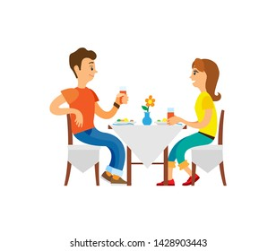 Vacation of couple, restaurant and cafe vector. People drinking juice, man and woman eating, table with vase and flowers. Eatery elegant breakfast
