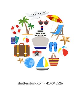 Vacation decorative icons set in shape of circle with palm ring-buoy cruise ship isolated vector illustration