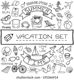 Vacation doodle icons collection. Vector illustration.