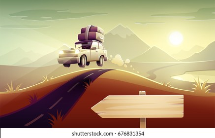 Vacation drive trip by car among mountains and hills. Family travel retro transport vehicle on road route driving with luggage suitcases and trunks at roof. Eps10 vector illustration.