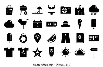 vacation glyph icon symbol set