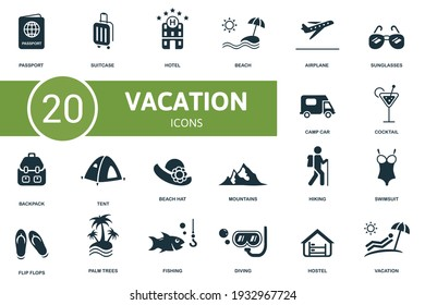 Vacation icon set. Contains editable icons vacation theme such as suitcase, beach, sunglasses and more. - Shutterstock ID 1932967724