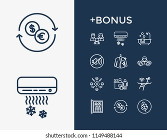Vacation icon set and dry cleaning with green products, exchange and minibar. Currency related vacation icon vector for web UI logo design.