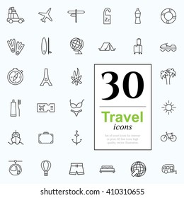 Vacation icon set for web or services. 30 design line travel icons high quality, vector illustration.