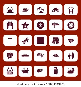 vacation icon set with wheel, hotel location and person in bath vector illustration