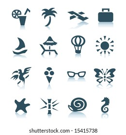 Vacation icons on white background