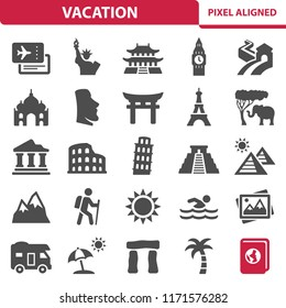 Vacation Icons. Professional, pixel perfect icons, EPS 10 format.