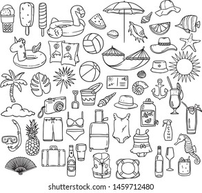 Vacation icons set, hand drawn elements. Vector illustration.