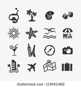 Vacation icons set. Vector illustrations with the concept of rest in exotic places and on the coast of the sea. Flat style.