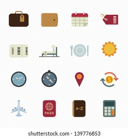 Vacation Icons and Travel Icons with White Background