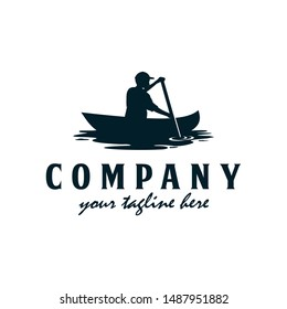 Vacation, kayak, canoe logo. Man rowing logo