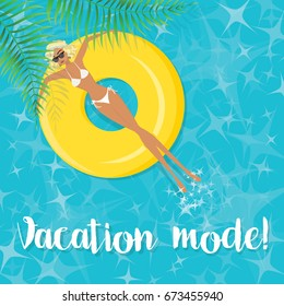 Vacation mode! -  Woman Sunbathing in the Swimming Pool - Vector illustration eps10