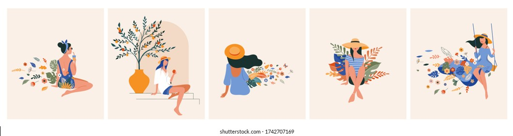Vacation mood, feminine concept illustration, beautiful women in different situations, on the beach, sitting near the pool, reading books. Flat style vector design - Shutterstock ID 1742707169