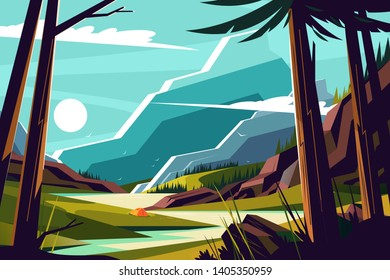 Vacation in mountains vector illustration. Picturesque landscape with nice hills beautiful river and trees flat style design. Travelling and holidays concept
