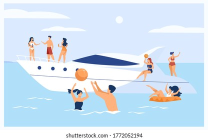 Vacation on yacht concept. Happy tourist characters sailing, drinking cocktails on luxury boat, swimming and playing ball in sea. Vector illustration for cruise, summer water activity topics