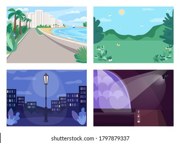 Vacation place flat color vector illustration set. Urban beach. Nighttime park. Concert hall. Spot for picnic. Summer holiday 2D cartoon landscape and interior with decoration on background collection