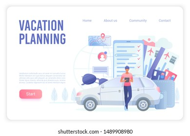 Vacation planning landing page vector template. Travel agency, ticket booking website homepage interface layout with flat vector illustrations. Road trip preparation web banner cartoon concept