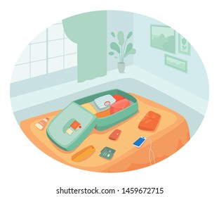 Vacation preparation flat vector illustration. Essentials packing, bags unpacking. Open suitcase in bedroom, hotel room. Charging phone, suntan cream, clothes and passports on bed. Summer holiday trip
