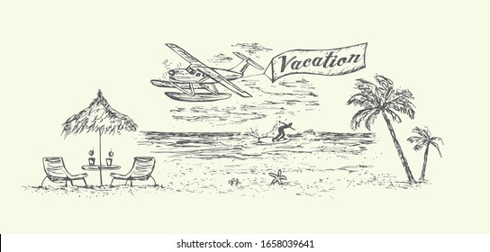 Vacation scene on the beach with umbrella,beach equipment.Airplane,palms,water surfer and ocean on background.Sketch style,isolated,vector,illustration.