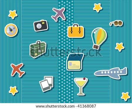 Vacation Scrapbook Items Stock Vector Royalty Free 41368087