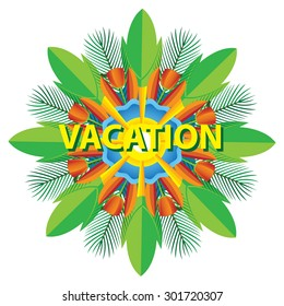Vacation summer background leaf plant flower isolated