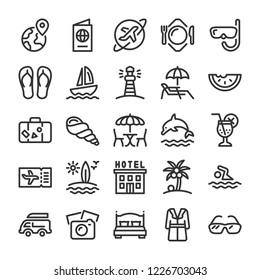 Vacation, summer and travel icons set. Line style