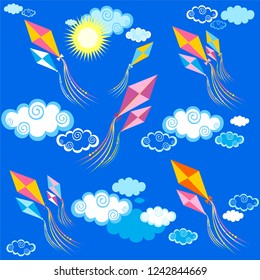 Vacation time. Kite  pattern. Summer children's endless background, texture. Game backdrop. Pattern for the Indian holiday Makar Sankranti with colorful kites. Vector illustration