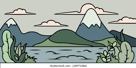 Vacation and Tourism concept. Landscape with Mountain Peaks and River. Nature background. Vector illustration flat design