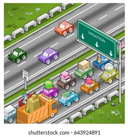 Vacation traffic jam on highway (isometric top view)
