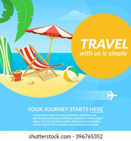 Vacation travel background. Easy to edit design template. Vector illustration.