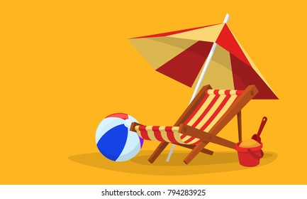 Vacation and travel concept. Beach umbrella, beach chair.