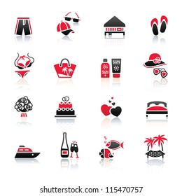 Vacation, Travel & Recreation, icons set. Tourism, Sport with reflection.