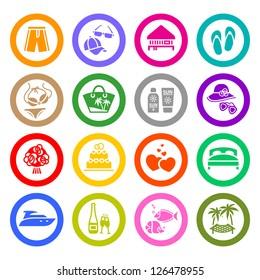 Vacation, Travel & Recreation, icons set. Tourism, Sport. Vector illustration