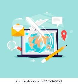 Vacation, travel, tour selection, laptop choice of destinations, tourism. Flat design vector illustration.