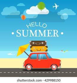 Vacation traveling concept. Flat design illustration