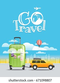 Vacation travelling concept. Car with baggage. Go travel illustration