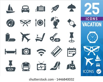 Vacation vector icon set (set of 25 vector icons remastered )