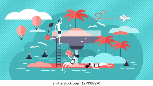 Vacation vector illustration. Tiny persons concept in exotic beach holidays. Summer season tropical ocean journey for leisure and outdoors relaxation with cocktail. Honeymoon couple flight destination